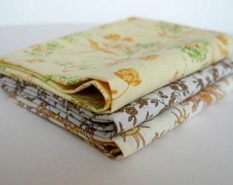 Vintage Fabric Fat Quarter Pack, 3 Floral Designs, Autumn Colours, Sewing Supplies
