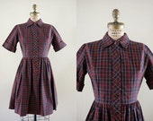 Vintage 1950s Primary School Dress / 50s plaid circle skirt dress red yellow blue brown / Small S XS