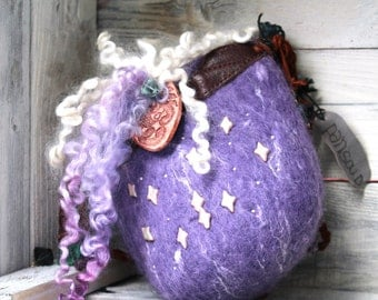 Felted Small Bag, Embellished Festival Pouch, Thick Felt Hip Pouch, Curls, Pearls,  Little Hippie Bag, Leather Straps,  Small Shoulder Pouch