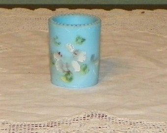 Antique Blue Opaque Opal TOOTHPICK HOLDER Washington Victorian Art Glass