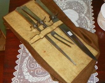 Antique International Sterling Silver Theseum Carving Set Knife Fork