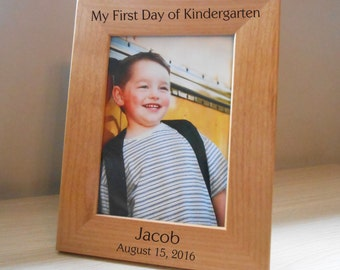 Personalized First Day of School Picture Frame: First Day of PreSchool, First Day of Kindergarten, Engraved School Picture Frame