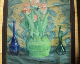 Original Outsider Art Work of A Floral Still Life  of pink tulips on a table setting beside two blue glass bottles with wallpaper background