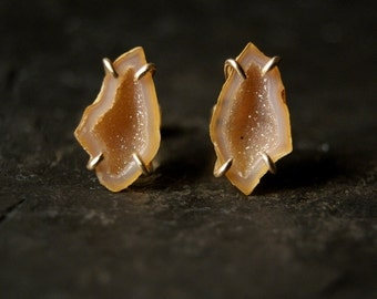 14kt Yellow Gold Prong-Set Peach Champagne Geode Studs