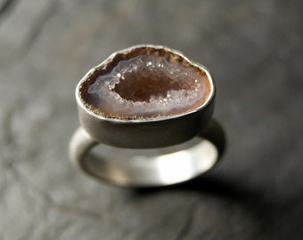 Pale Pink Geode Ring in Sterling Silver