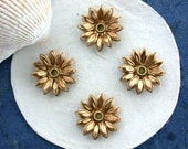 Raw Brass Flower Stampings, Metal Stamped Flowers, 3-D Riveted Flower Stampings, Vintage Style Metal Flowers, Made in USA ~ STA-184