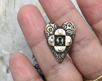 Bronze Locked Heart Button