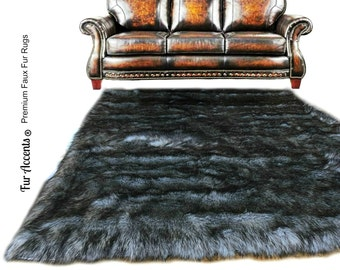 Faux Fur Sheepskin Rug - Rectangle - Shaggy Soft - Thick Gray Wolf - Fur Accents Designer Rugs and Throws USA