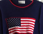 Vintage 90's Flag Sweater women's small