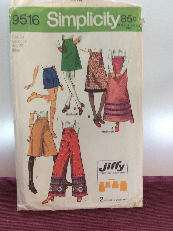 1970 simplicity pattern mini skirt to maxi skirt bell bottom