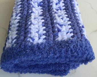"Stroller Blanket / Carseat Blanket /Toddler Blanket / Denim Blues 24"" x 30"" / Baby Shower Gift / Cuddle Blanket"
