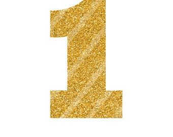 Number 1 Heat Transfer Vinyl Glitter Iron On,  Gold Decal Sticker