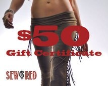 Gift Certificate for Sew Red - 50 Dollar Gift Card for Sew Red on Etsy