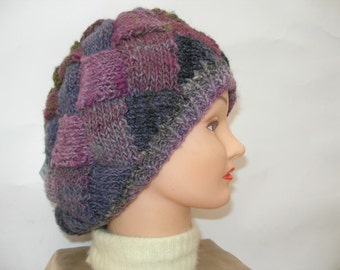 Hand Knit Green, Purple and Pink Slouchy Hat in Entrelac Pattern