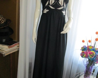 1970's Ladies Black V-Neck HALTER Top Floor Length DRESS by Mikey,Jrs of California