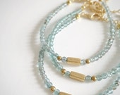 Petite Stack Bracelet - Beaded Apatite with Brass. Wrist Candy