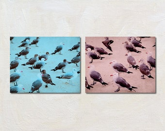 Retro Beach Art Print Set of 2, Pink and Blue Artwork, Two Photograph Set, Seagull Pictures, Modern Beach Decor, Seasidel Wall Art