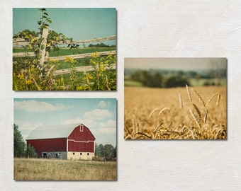 Modern Farm Photography Set of Three Prints, Red Barn Picture, Rustic Wall Decor, Country Artwork Set of 3, Landscape Photograph, Nature Art