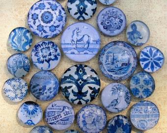 Delft Blue White China Blue Transferware Vintage Blue White Home Decor Blue and White Large Glass Magnet Set Office Organization
