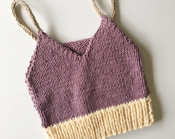 Lavender/Butter Yellow Aphrodite Chunky Knit Crop Top Bralette