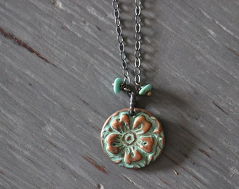 Botanical Charm Necklace, Copper Charm, Aqua Patina, Turquoise, Gemstone Necklace, Sterling Silver, Cable Chain, Rustic, 17 Inch