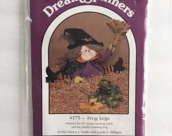 "Dream Spinners #175 Frog Legs - 10"" Beanbag Witch Pattern *Destash*"