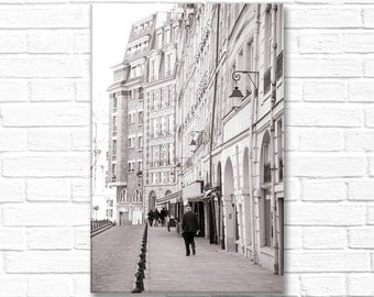 Paris Photography on Canvas - Place Dauphine,  Gallery Wrapped Canvas, Large Wall Art, Black and White, Architectural Urban Home Decor