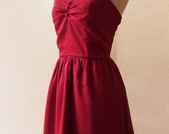 Christmas Dress Red Wine Dress Burgundy Dress Vintage Inspired Blood Red Party Prom Dress Evening dress Burgundy bridesmaid dress