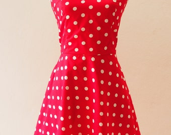 Ready to Ship - Women Christmas Dress Red Retro Rockabilly Dress Polka Dot Dress, Halter Swing Red Summer Dress, Red Party Dress, S,M,L,XL