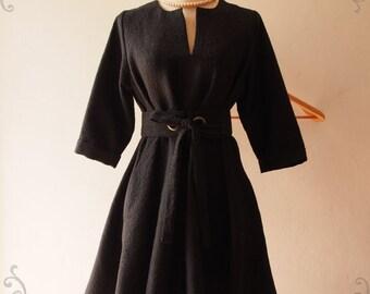 Flash Sale Black Winter Dress, Black Gown Vintage Inspired Dress, Pockets Dress, Black Formal Dress, Fall Dress, Maternity Dress -Autumn ...