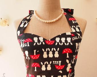 SALE Little Bunny Dress Black Summer Dress Black Sundress Retro Dress Black Halter Dress Vintage Inspired Modern Vintage Dress size L