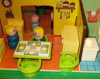 SALE Fisher Price 1971 vintage fisher price open air house little people and furniture very rare set