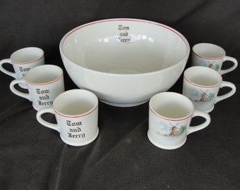 Vintage W. S. George 7 Piece Tom & Jerry Punch Bowl Set Eggnog Windmill