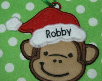 Personalized Monkey Santa Ornament or Gift Tag