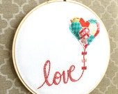 Embroidery Hoop Decor. Inspirational Words. Patchwork. Whimsical. Kitsch Wall Art. Hoop Art. Embroidery Art. Nursery Decor. Valentine's Day