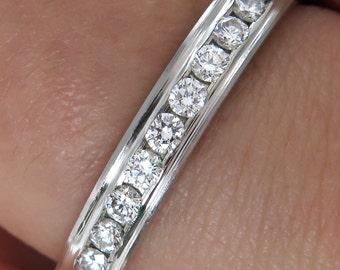 Solid 0.25ct Round Diamond WEDDING ANNIVERSARY Platinum BAND Ring Comfort Fit
