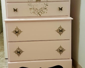 Shabby Chic Pink Butterfly dresser vintage cottage chic
