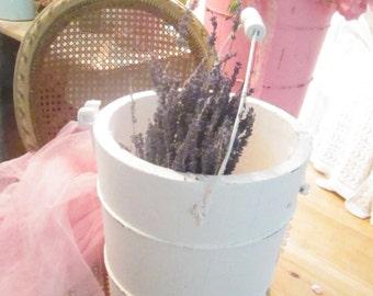 Vintage chippy painted white  shabby chic  farmhouse bucket shabby decor