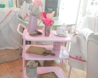 Vintage cart chippy pink  andrusty shabby chic prairie cottage