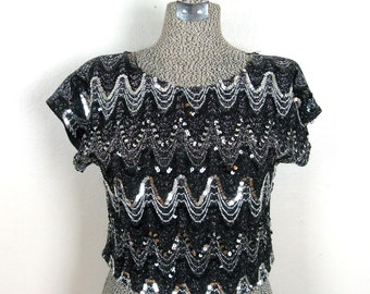 Vintage 1970s Sequin Disco Crop Top 70s Zig-Zag Sparkly Blouse by Arianne Size M