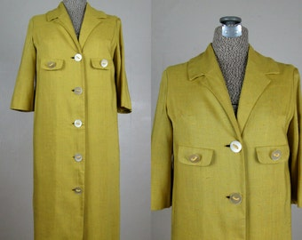 Vintage 1950s 1960s Celadon Green Dress 50s 60s Rayon Linen Coat Dress with Fabulous Buttons by Mitzi Morgan Size 8 M