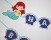 Little Mermaid Banner, Happy Birthday Party Banner, Mermaids Shells READY TO SHIP, Under the Sea Mermaids Birthday Party Decoration