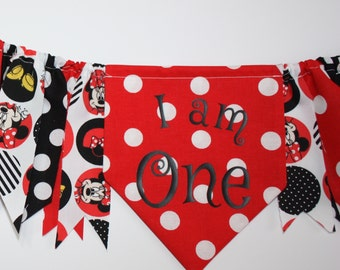 Minnie Mouse First Birthday Party Banner, I AM ONE, Minnie Mouse Highchair Banner, Handmade from Minnie Mouse Fabric Strips, Ready to Ship