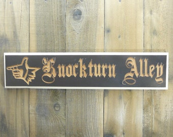 Harry Potter Inspired Knocturn Alley Sign - Magic Diagon Alley Fantasy Movie Picture Decoration - Dark Brown & Ivory Painted and Carved Wood
