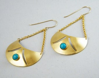 Turquoise Gold bohemian dangle earrings long Turquoise earrings bohemian earrings