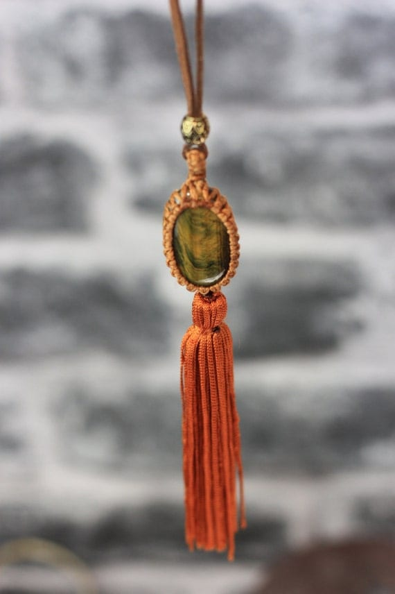 TIGEREYE TASSEL NECKLACE- Healing Crystal Jewellery- Macrame Necklace- Tribal Jewelry- Boho- Bohemian Necklace- Accessories- Tassel Necklace
