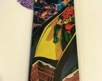 Upcycled Robin and Huntress Comic Book Bookmark