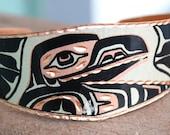Vintage Native American Copper Enamel Totem Cuff Bracelet Unique