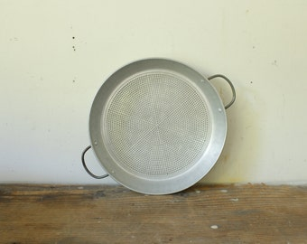 Vintage Farmhouse Strainer Aluminum Sieve with Two Handles