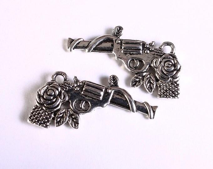 Antique silver Gun rose pendant - Revolver charm - Western Gun - Sheriff Cowboy - Weapon - Pistol - 30mm x 19mm (1744) -Flat rate shipping